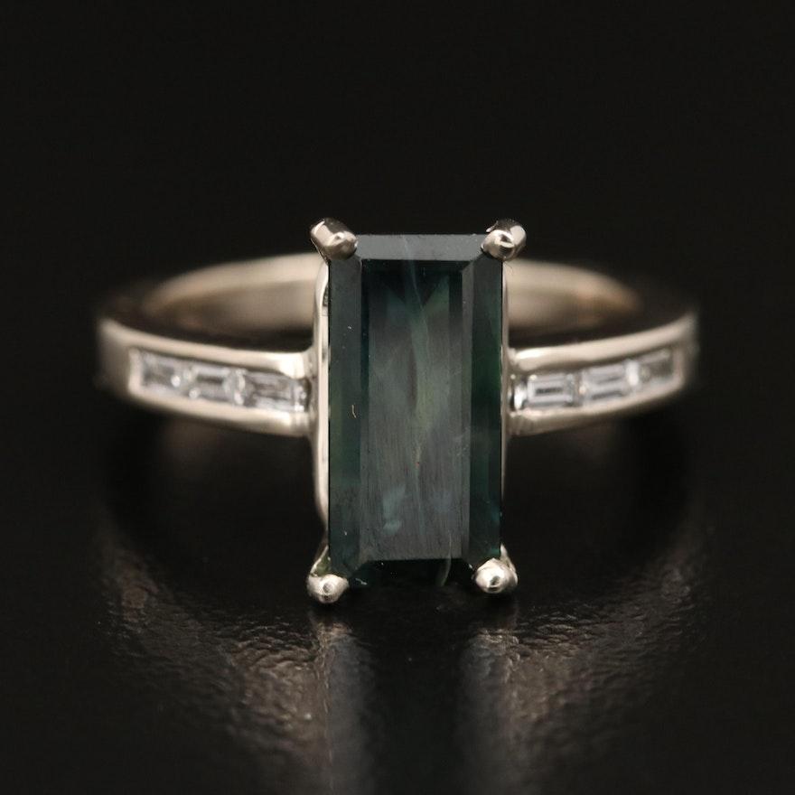 14K 2.62 CT Sapphire and Diamond Ring