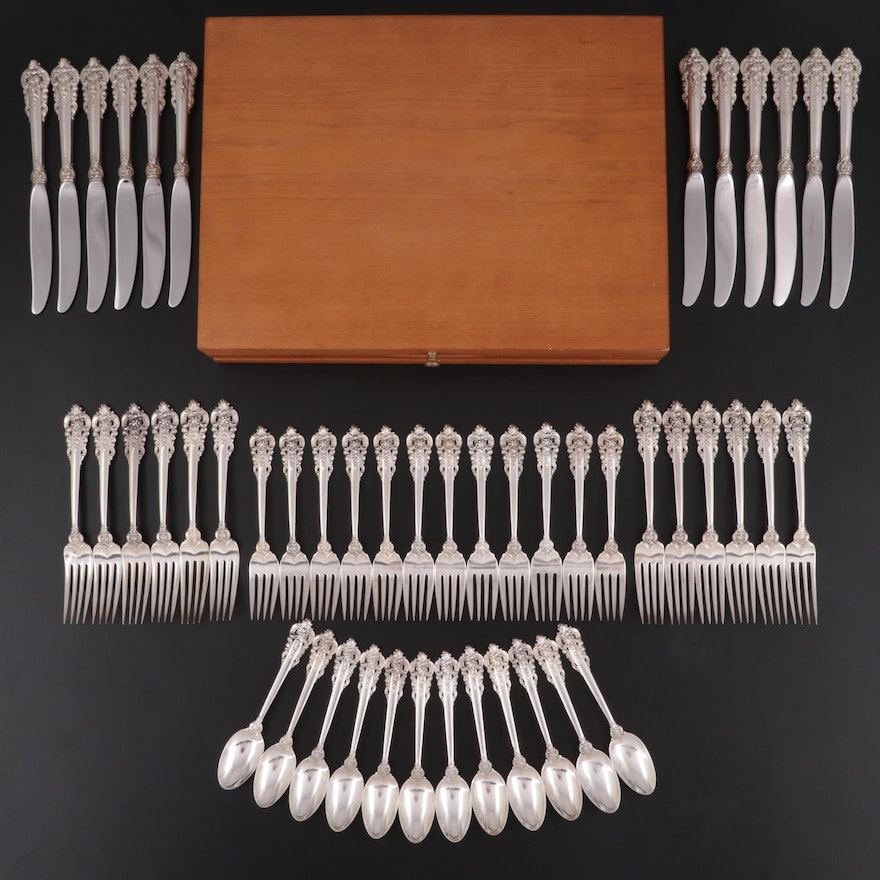 """Wallace """"Grand Baroque"""" Sterling Silver Flatware with Chest"""