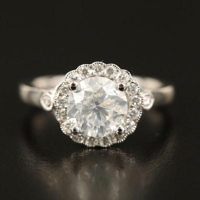 Platinum 2.05 CTW Diamond Scallop Halo Ring