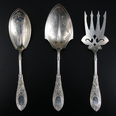 """Whiting Mfg. Co. """"Arabesque"""" Sterling Silver Utensils, Late 19th/Early 20th C."""