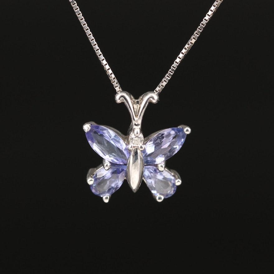 14K Tanzanite and Diamond Butterfly Pendant Necklace