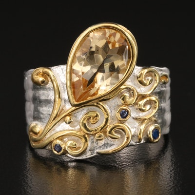 Sterling Citrine, Cubic Zirconia and Spinel Scrollwork Ring