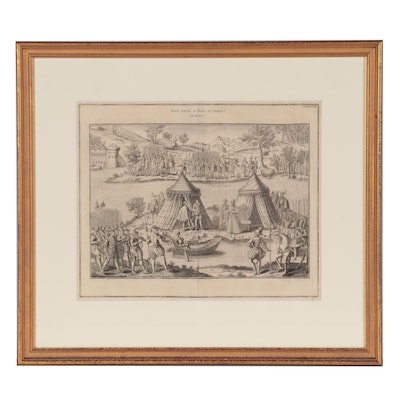 """Etching after J. Perrissin """"Paix fait a l'Isle aux Boeufs"""" Late 19th Century"""