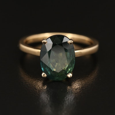 18K 3.75 CT Oval Faceted Sapphire Ring