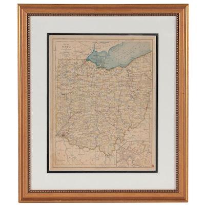 """Adolph von Steinwehr Wax Engraving """"Map of Ohio,"""" 1877"""
