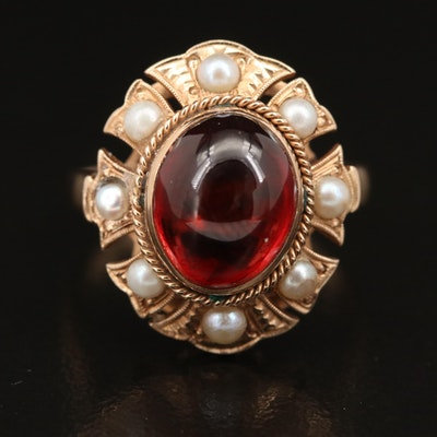 Vintage 14K Garnet and Pearl Ring