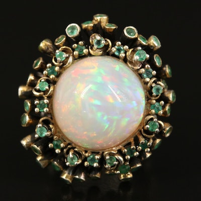 Sterling Opal and Emerald Ring