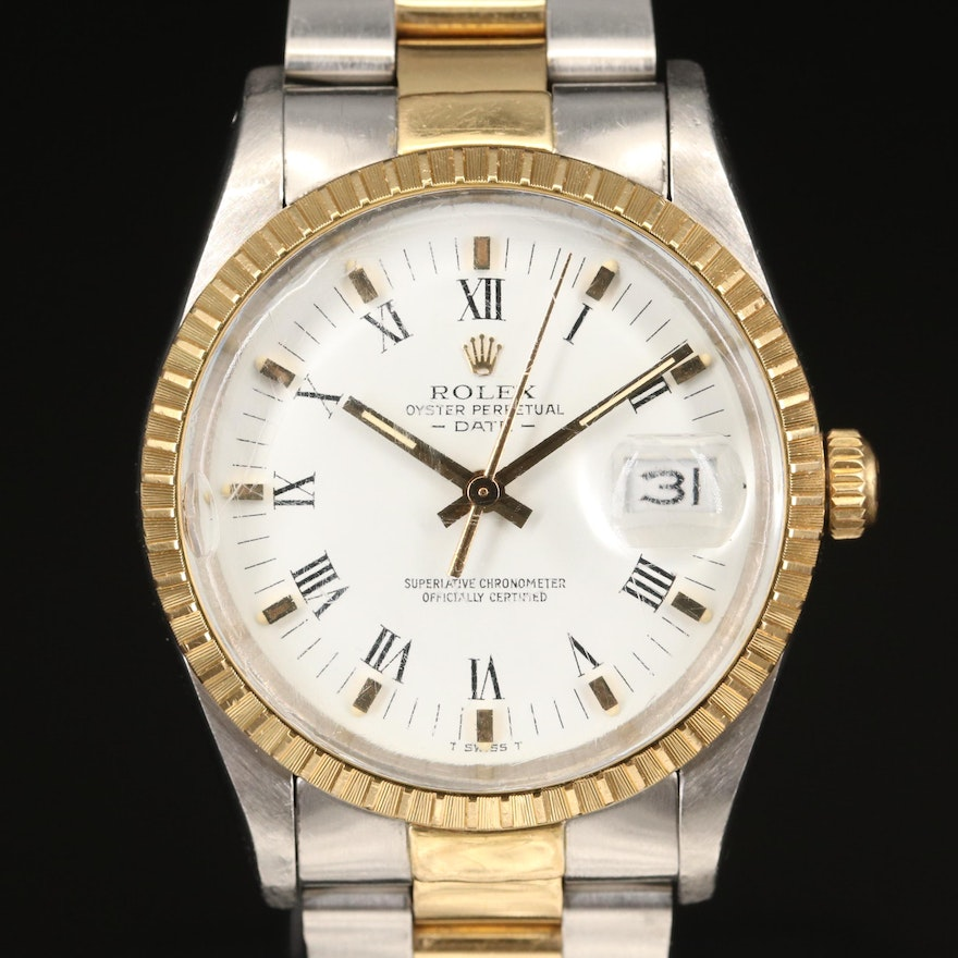 1984 Rolex Date 18K Yellow Gold and Stainless Steel Automatic Wristwatch