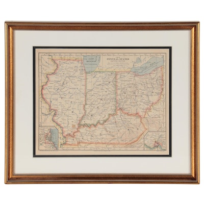 """Wax Engraving Map """"The Central States Eastern Section,"""" 1883"""