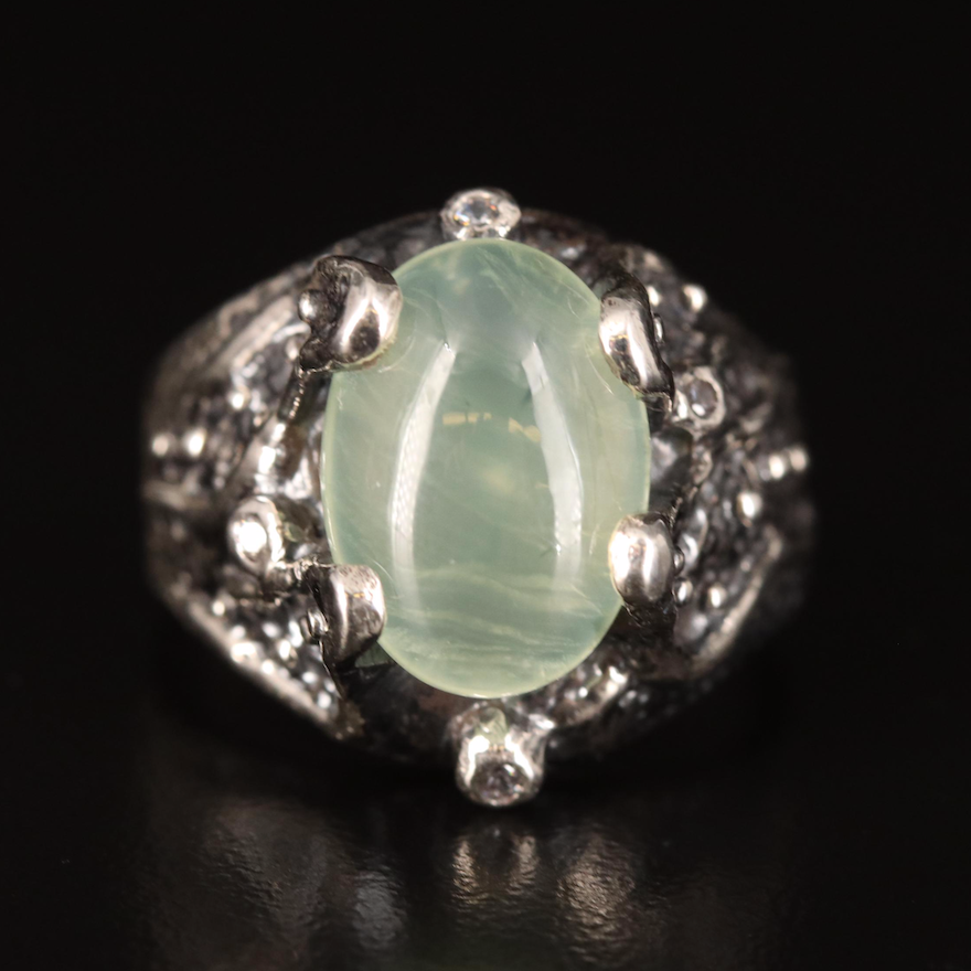 Sterling Prehnite and Cubic Zirconia Biomorphic Ring