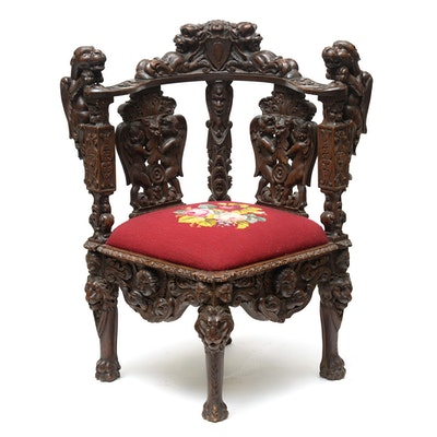 Italian Baroque Style Carved Walnut Corner Chair, Late 19th/Early 20th Century