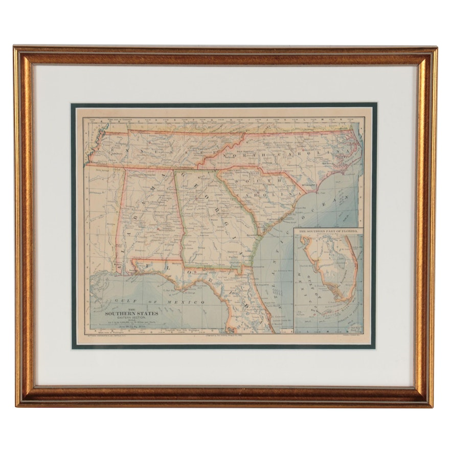 """Wax Engraving Map """"The Southern States Eastern Section,"""" 1883"""