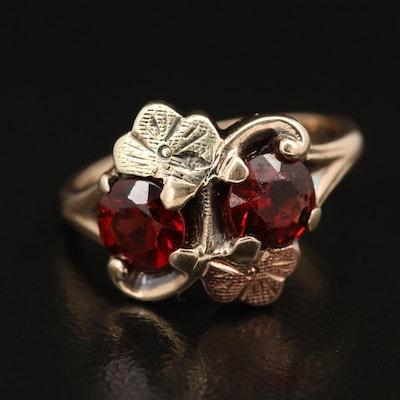 Vintage Tri-Color 10K Garnet Ring