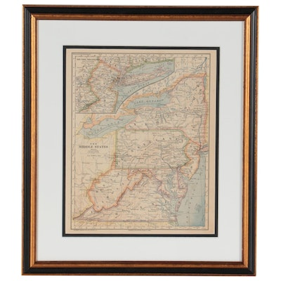 """Van Antwerp, Bragg & Co. Wax Engraving Map """"The Middle States,"""" 1883"""