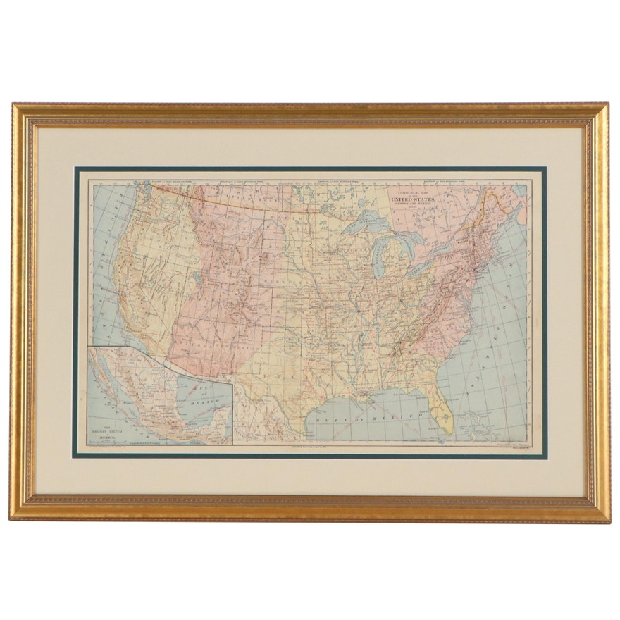 """Wax Engraving Map """"Commercial Map of the United States, Canada and Mexico"""""""