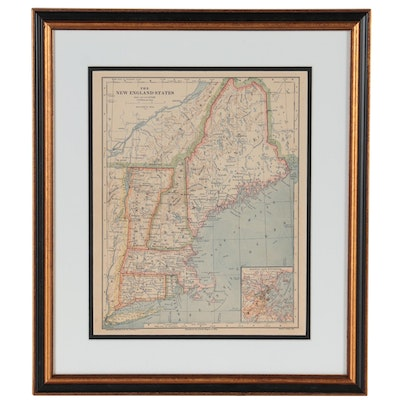 """Van Antwerp, Bragg & Co. Wax Engraving Map """"The New England States,"""" 1883"""