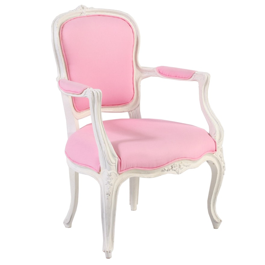 Louis XV Style Painted and Custom-Upholstered Fauteuil