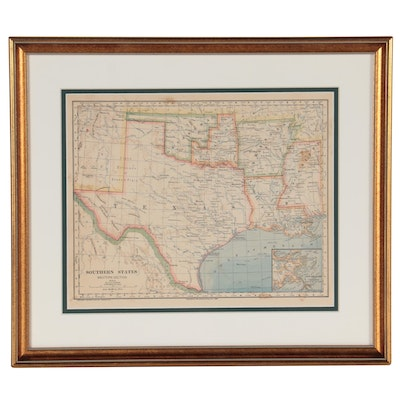 """Wax Engraving Map """"Southern States Western Section,"""" 1883"""