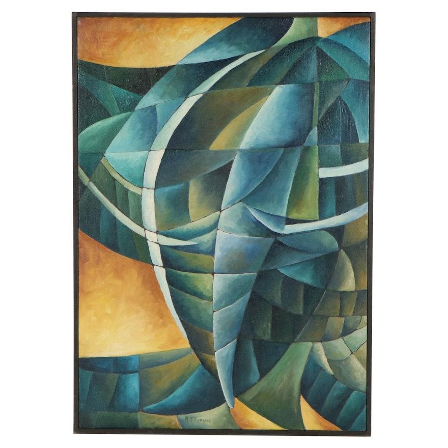 "Robert Szesko Cubist Style Oil Painting ""Cocoon,"" circa 1975"