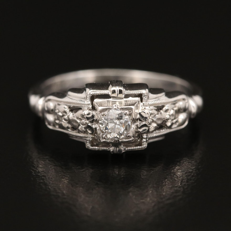 Art Deco 14K Diamond Ring with Milgrain Detail