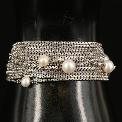David Yurman Sterling Station Multi-Strand Bracelet with Pearl Accents
