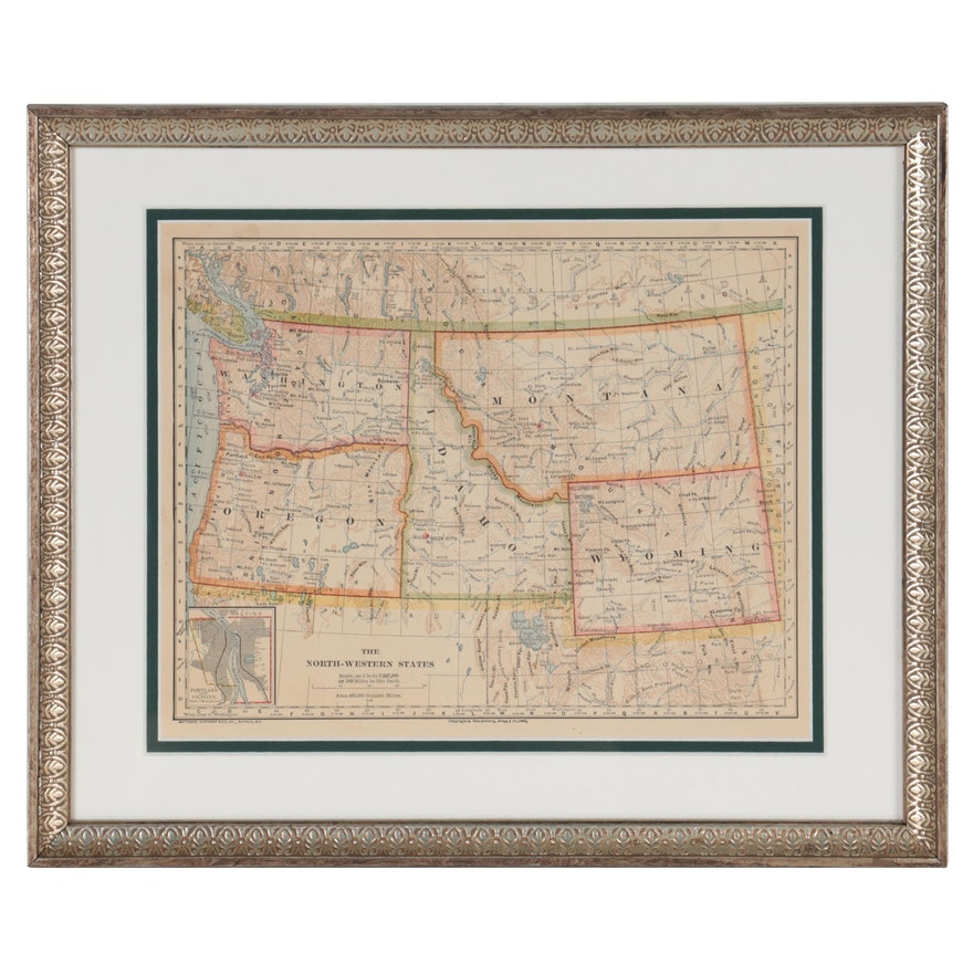 "Van Antwerp, Bragg & Co. Wax Engraving Map ""The North-Western States,"" 1883"