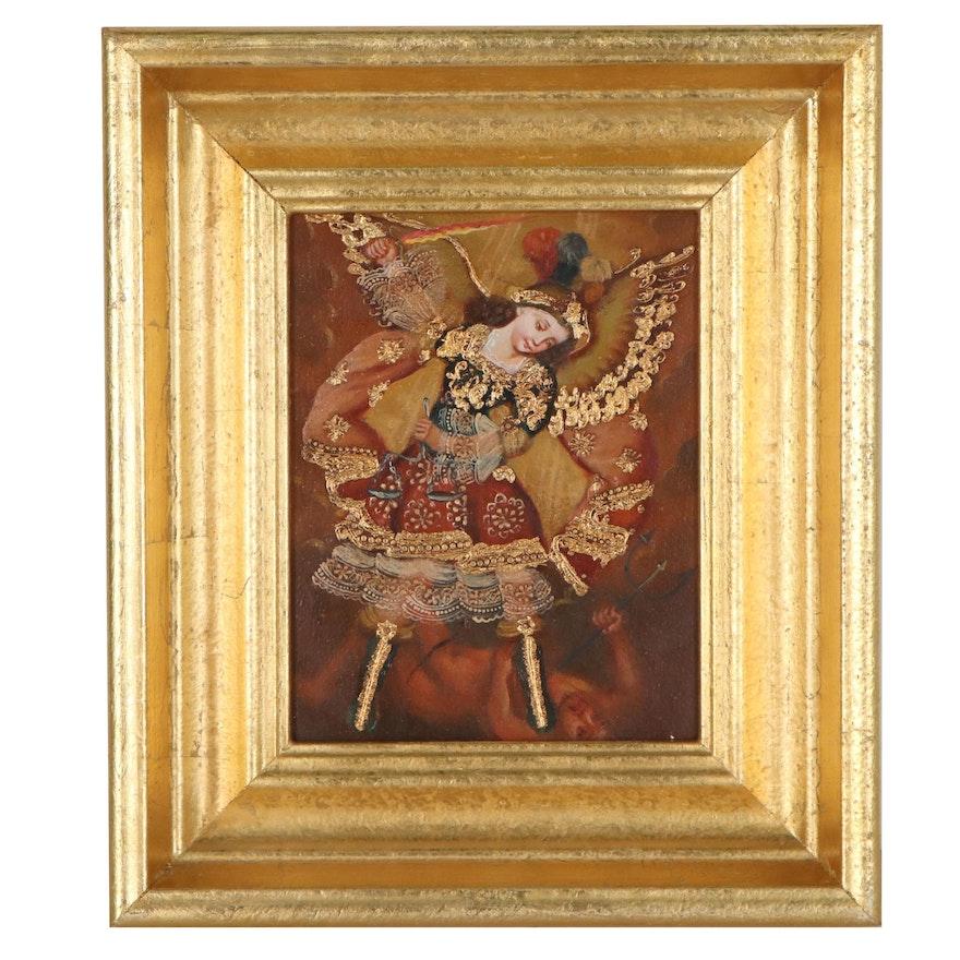 Cuzco School Style Oil Painting of Archangel Michael