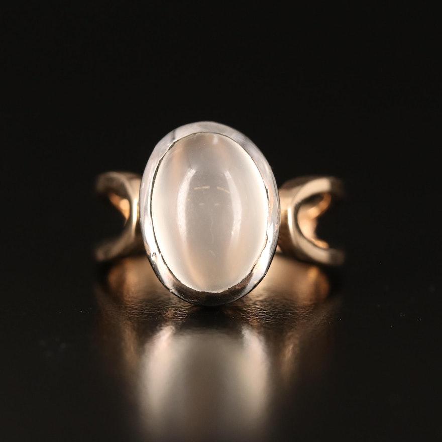 Sterling Bezel Set Moonstone Solitaire Ring