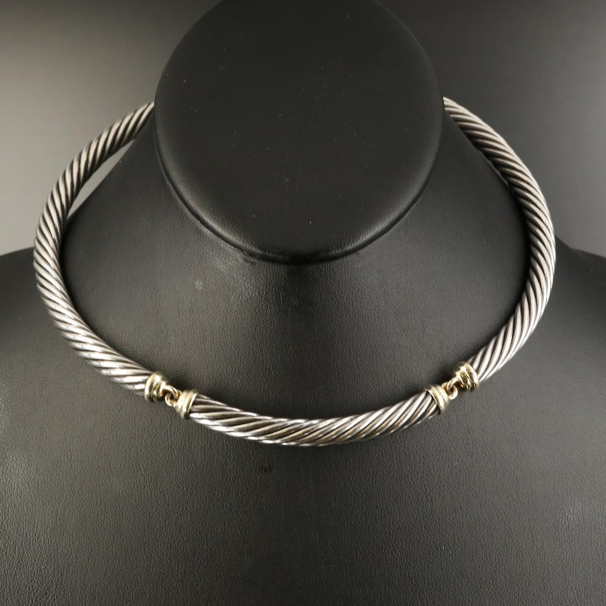 """David Yurman """"Metro Cable"""" Necklace with 14K Accents"""