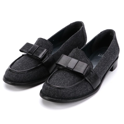 Stuart Weitzman Gray Flannel and Black Leather Bow Loafers