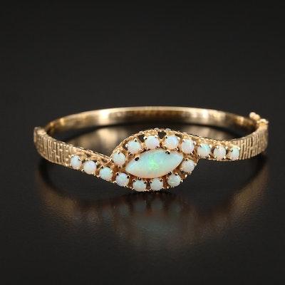 14K Opal Bypass Hinged Bracelet
