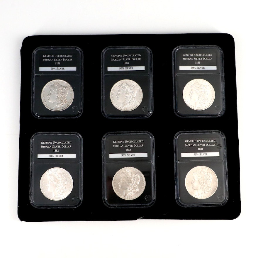 Better Date 1880-O Morgan Silver Dollar with Five Other Morgan Dollars