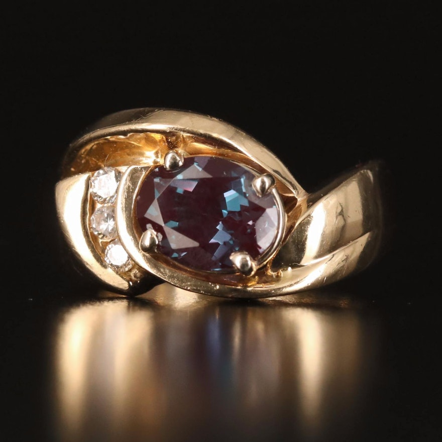 14K Alexandrite and Diamond Ring