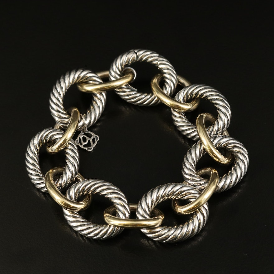 David Yurman Sterling and 18K Cable Chain Bracelet
