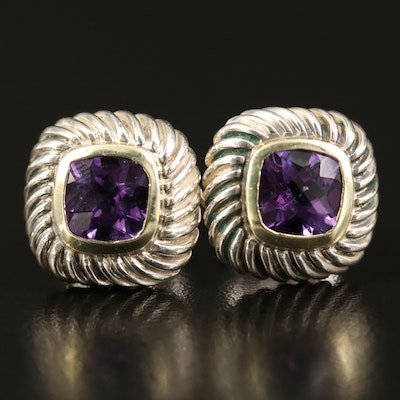David Yurman Sterling Amethyst Button Earrings with 14K Accent