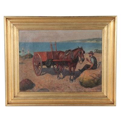 William Burchfield Bridge Coastal Scene Oil Painting