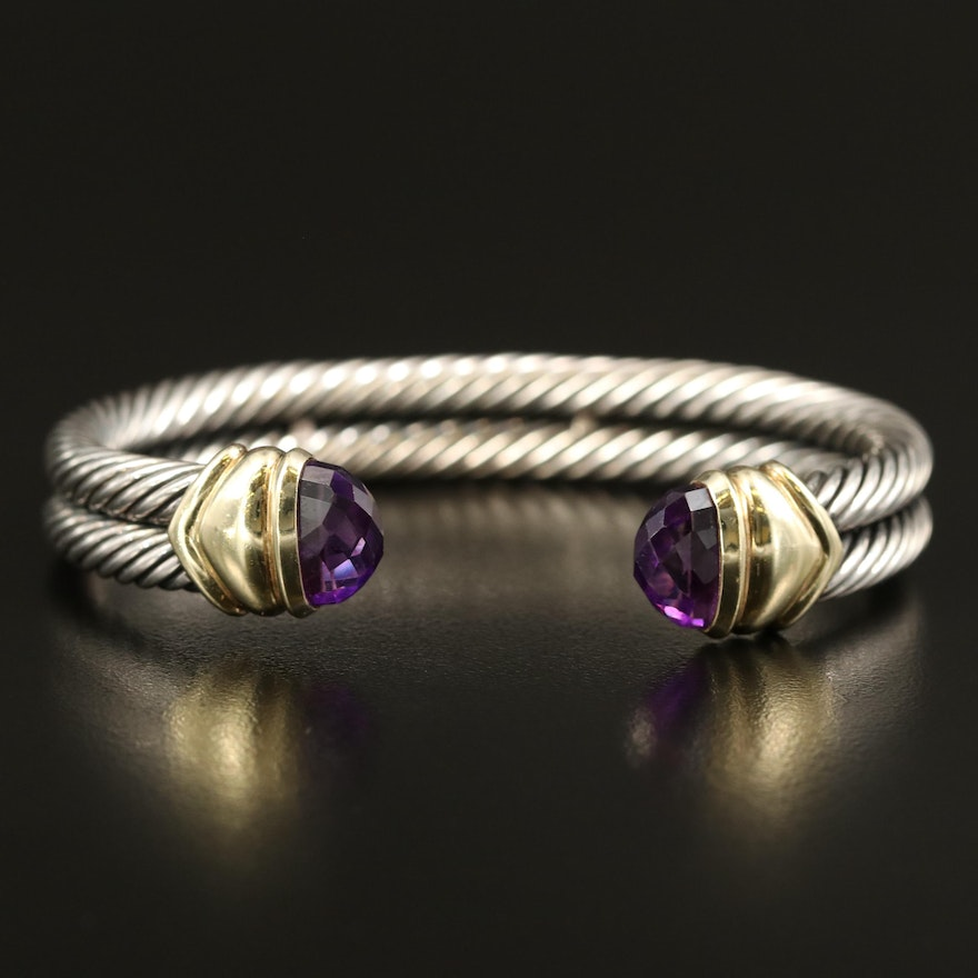 David Yurman Sterling Amethyst Double Cable Cuff with 14K Accents