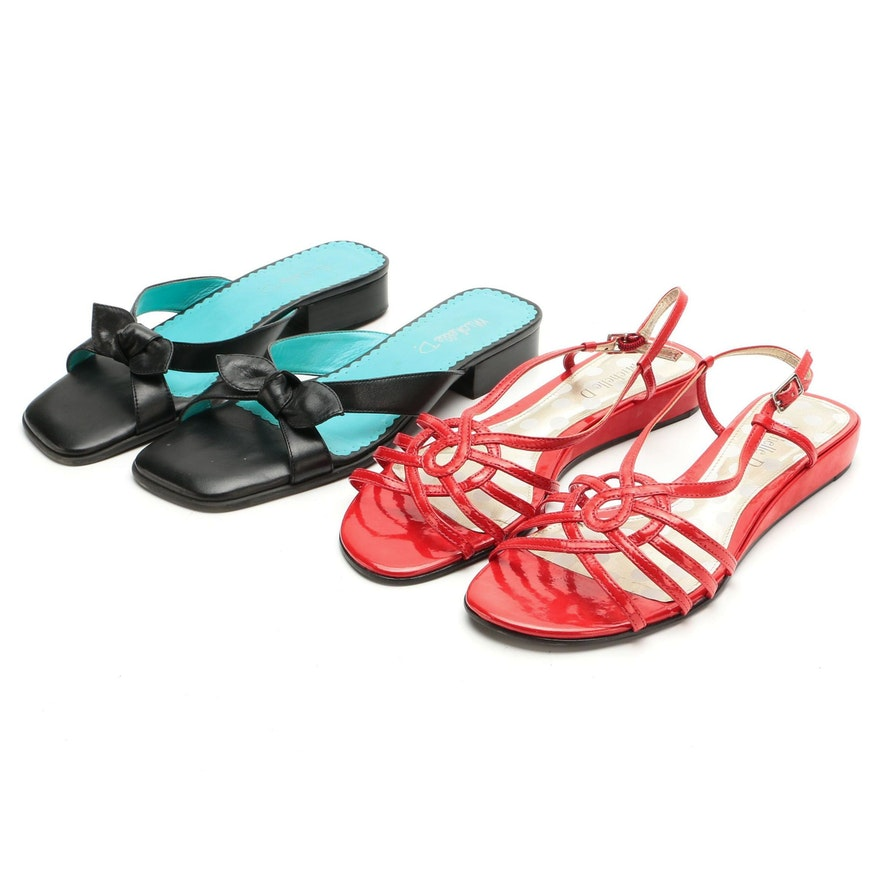 Michelle D Black Leather Slide Sandals and Red Patent Leather Strappy Sandals