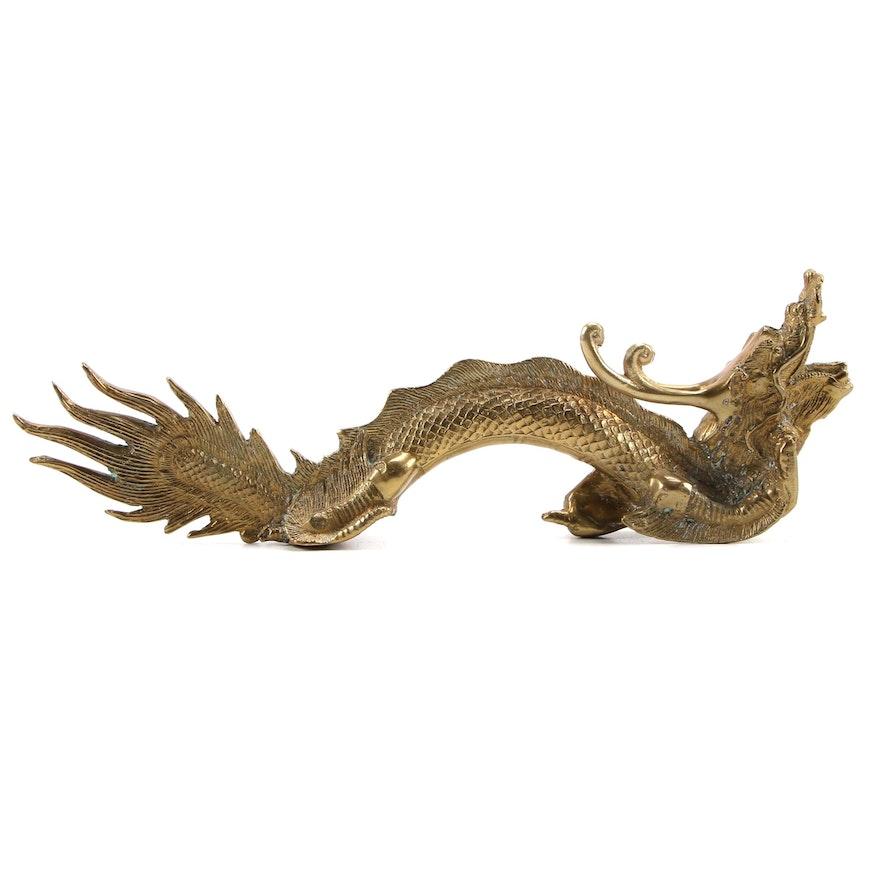 Chinese Brass Dragon Statuette