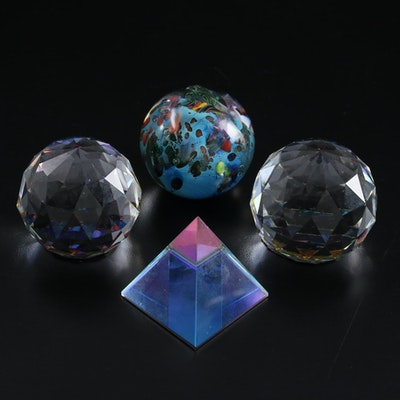 """Josh Simpson """"Planet"""" Marble with Other Crystal Paperweights"""