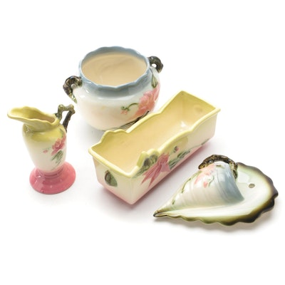 """Hull Pottery """"Wooland"""" Jardinières and Wall Pocket, Mid-20th Century"""