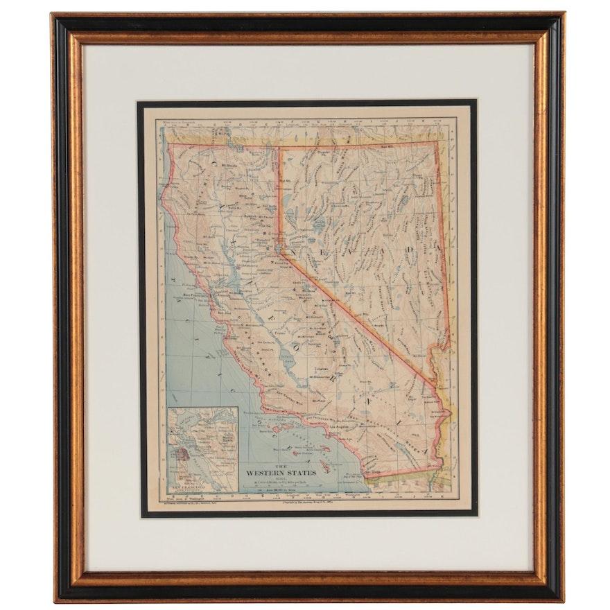 "Van Antwerp, Bragg & Co. Wax Engraving Map ""The Western States,"" 1883"