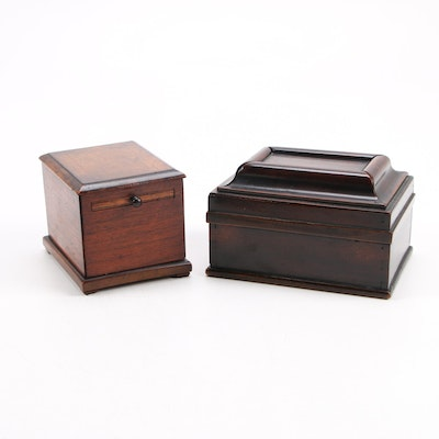 Victorian Walnut Secret Compartment Box with Mahogany Slide Drawer Coin Bank