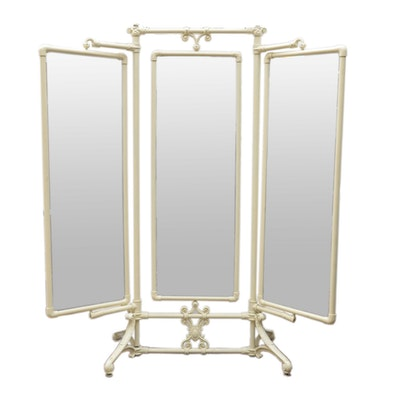 Victorian Cast Iron and Beveled Glass Dressing Mirror