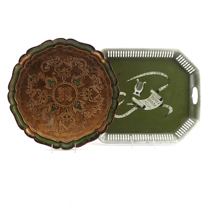 Toleware Serving Tray with Florentine Style Painted Wood Tray