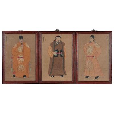 Chinese Gouache Emperor Portraits of Taizong, Shizu, and Taizu