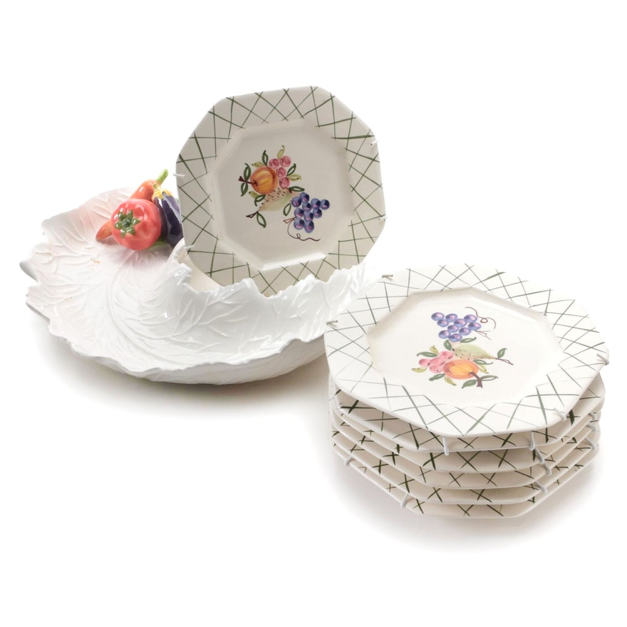 Casafina Hand-Painted Floral Plates with Mexican Ceramic Serving Dish