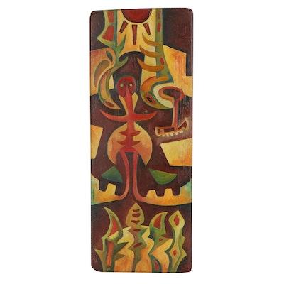Robert Szesko Abstract Oil Painting, circa 1976