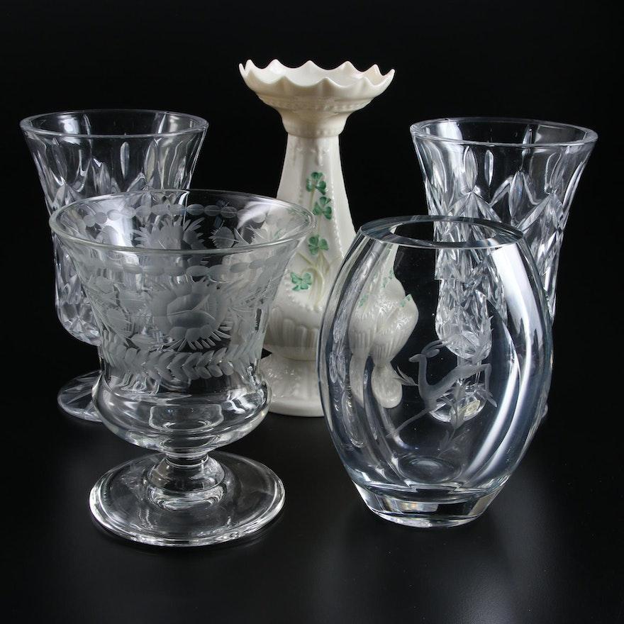"Belleek ""Shamrock"" Island Vase and Other Crystal and Etched Glass Vases"