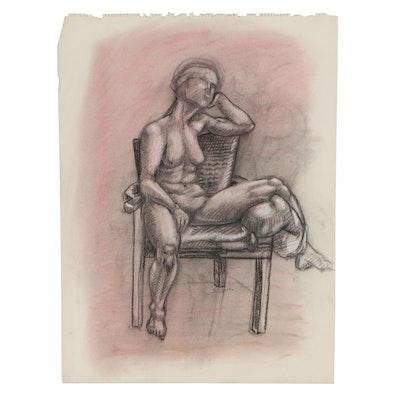 Robert Szesko Figure Pastel and Charcoal Drawing